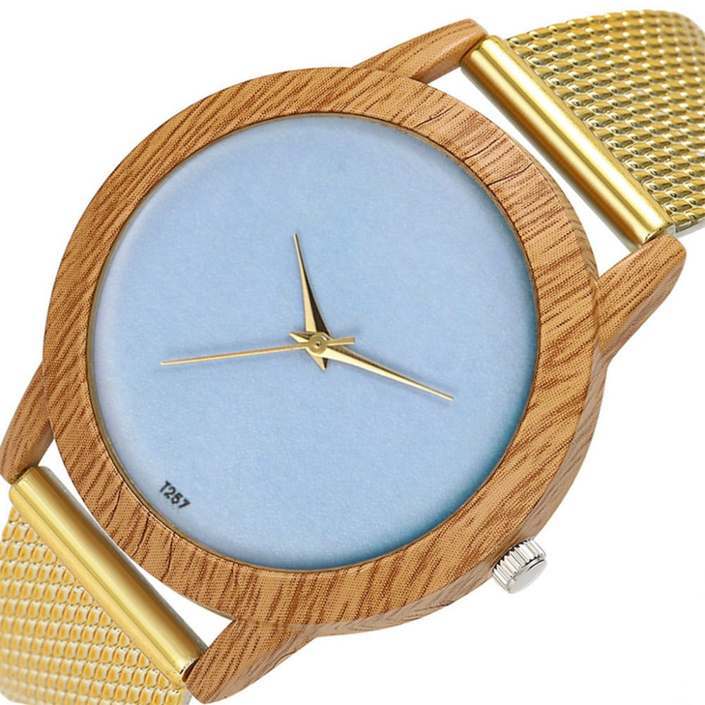 Watches Women Wooden Clock Quartz-Wristwatch Silicone Femme Fashion Minimalism Grain