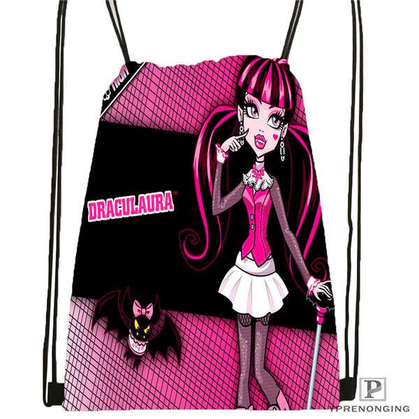 Пользовательские youloveit_ru_monster_high Drawstring сумка-рюкзак милый рюкзак дети сумка(черный назад) 31x40 см#180611-01-42