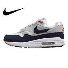 Originais Tênis de Corrida dos homens Nike Air Max 1 Preto   Cinza Cinza    Azul-absorção de Choque Não -deslizamento Leve 908375. 0ddb2a2f82bf3