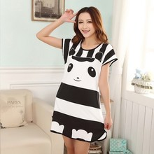 Summer Sleepwear Animal Panda Printing Cute Dress For Women Girl Nightgowns Casual Sleepdresses Short sleeve Sleepshirts