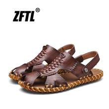 цена на ZFTL New men's casual Sandals men's shoes hand-woven Genuine leather sandals and slippers Oxford Roman Summer beach sandals  052