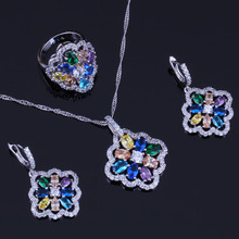 Flower Multigem Multicolor Yellow Cubic Zirconia 925 Sterling Silver Jewelry Sets For Women Earrings Pendant Chain Ring V0289