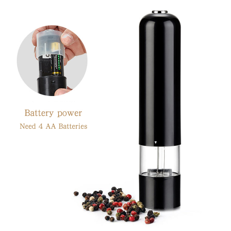 Leeseph Battery Operated Pepper Grinders, One-Button Operation Electric Sea Salt Mills, Kitchen Tools Gadgets