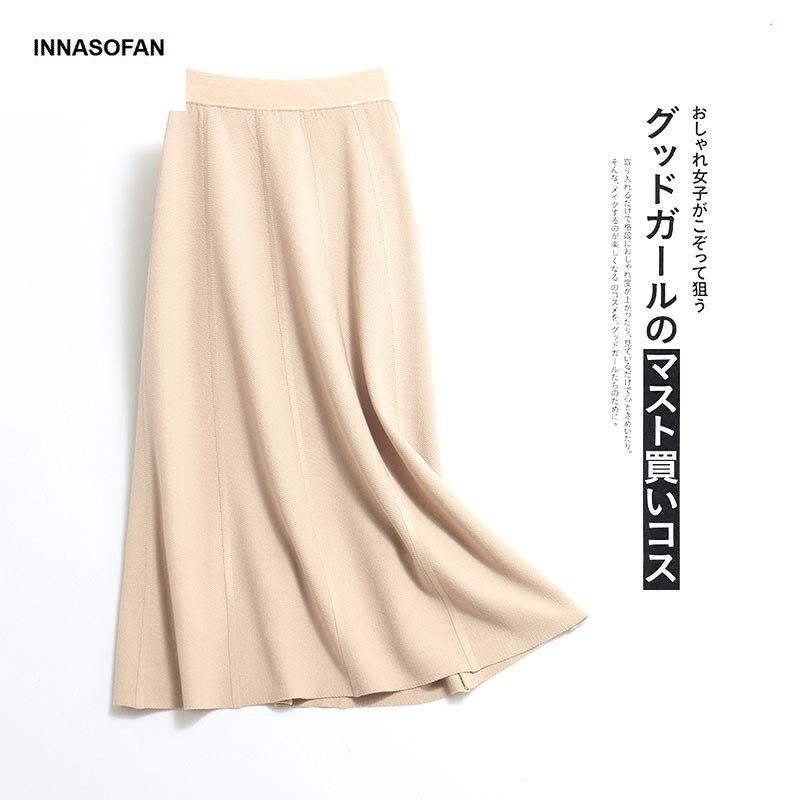 INNASOFAN Knitted Long Skirt Women's Spring-summer Skirt High Waist Euro-American Fashionable Elegant Skirt Solid Color