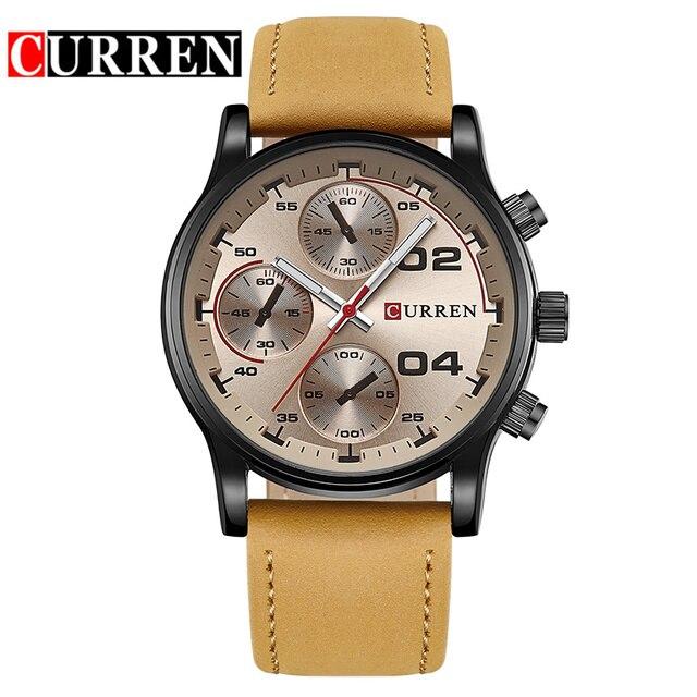 Curren Fashion Fake Blue Watch Top Fashion Leather Men Luxury Brand Watches Rock Man Sports Watches Male Quartz Watch 8207 2