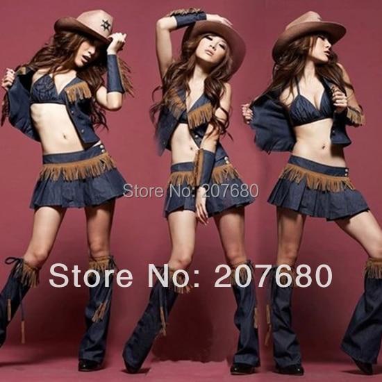 Traje del partido Cowgirl atractivo vestido de disfraces Fancy dress Vaquera ropa de juego vestido para