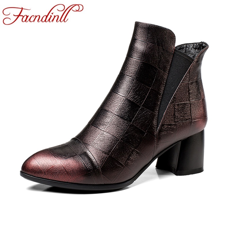FACNDINLL genuine leather autumn winter women ankle boots shoes square heels pointed toe shoes woman riding casual short boots facndinll women genuine leather ankle boots black red fur leather high heels pointed toe shoes woman autumn winetr riding boots