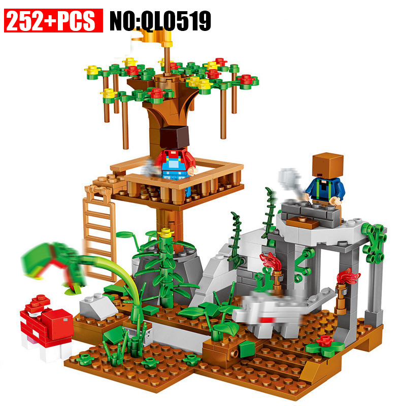 AIBOULLY QL0519 Minecrafted 252pcs Building Blocks City Action Figures Blocks Set Educational Kids Boy Girl Toys For Children aiboully nano blocks delicious sushi food action figures plastic building bricks abs mini hot model educational toys for kid