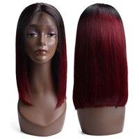 Бразильский T1b/бордовый Цвет человеческих волос кружева фронтальной парик 99j красный парик для волос прямо человеческих волос не путать