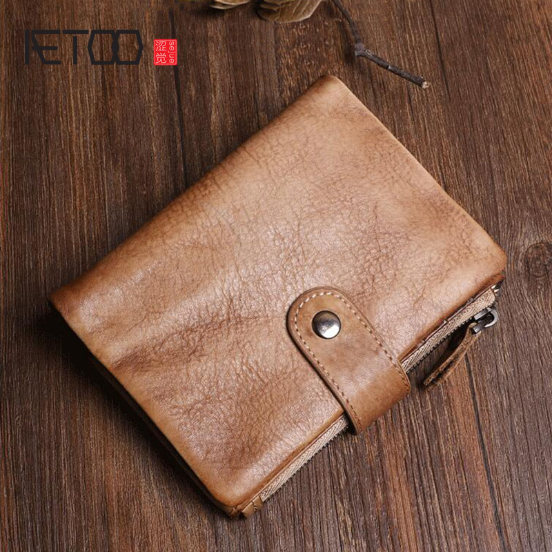 AETOO Original hand-made vintage suede leather vertical wallet Men and women old buckle simple leather wallet new wave foldover suede wallet