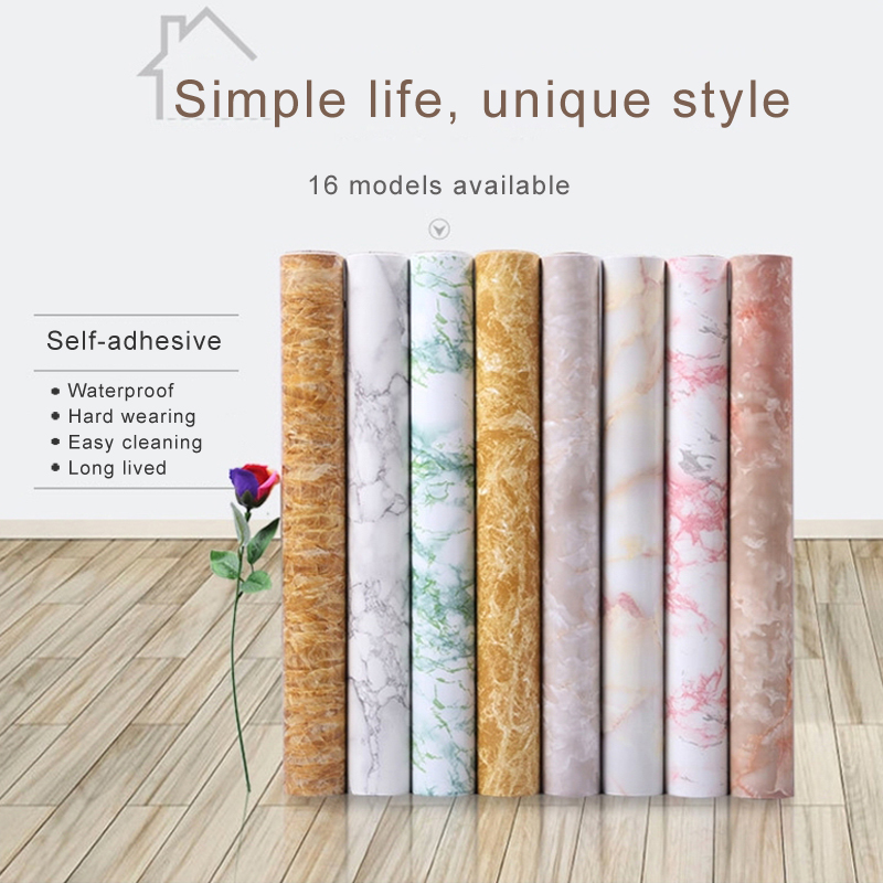 Self adhesive wallpaper thickness waterproof pvc imitation Marble pattern wall paper renovation stickers of furniture and room reed swaying pattern large wall stickers for bedrooms