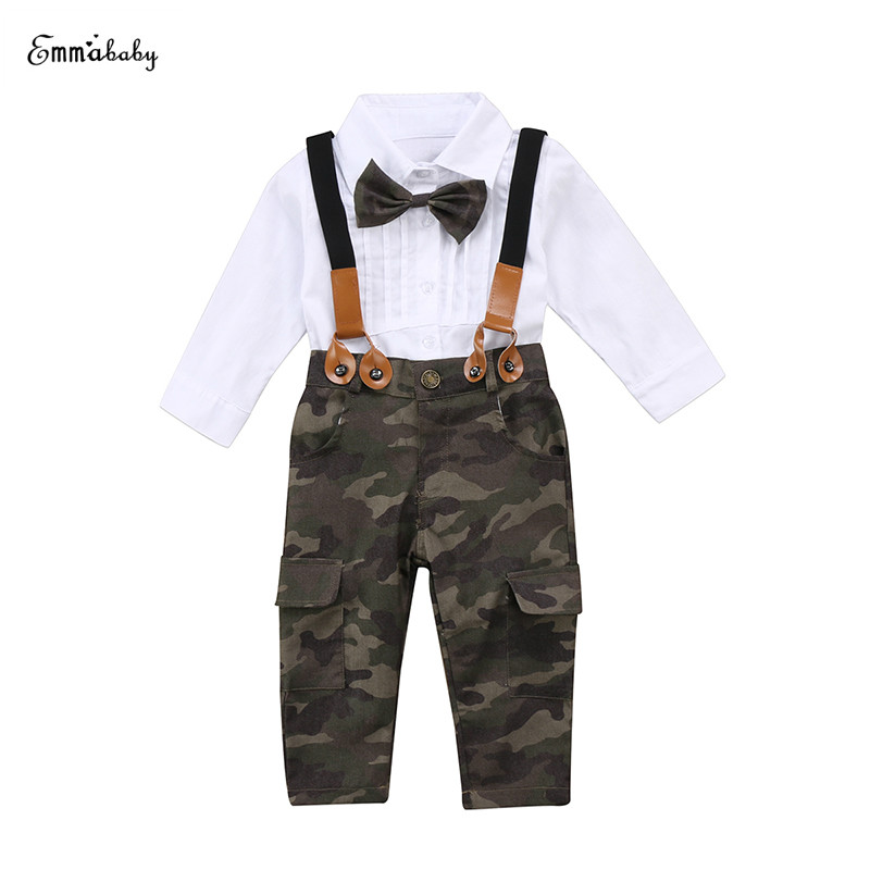 Emmababy Fashion Kids Boy Girl Long Sleeve Bowtie White Shirt Tops+Camouflage Pant Suspender Trousers 2PCS Outfit Clothing Set