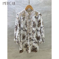 V образным вырезом 100% лен женские кимоно 2019 Pre Весенняя мода цветочный седьмой рукав женская блузка и рубашки для мальчиков 2019 сезон: весна л