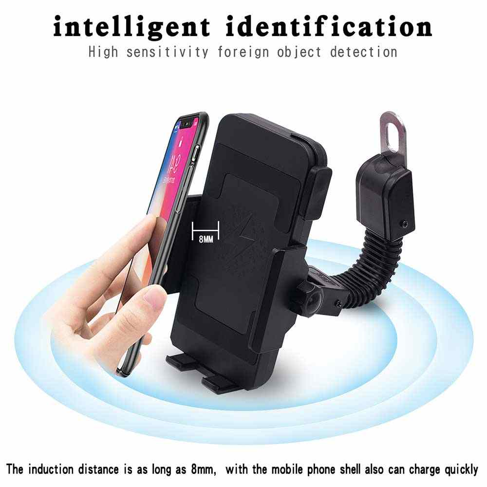 Motorcycle Phone Holder QI Wireless Charger Fast For Samsung iPhone Cell Phone Holder Motorbike Moto Mobile Smart Phone Stand