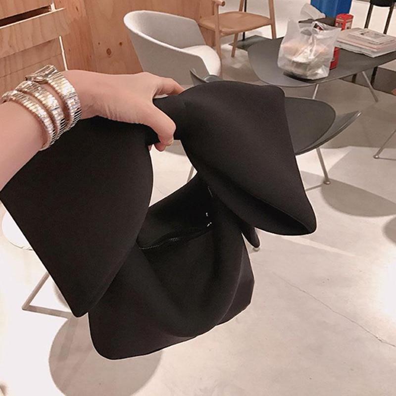 Designer Women Handbags Bow Day Clutches Bag Ladies Evening Party Clutches Black Handbag Shoulder Bag(Black)