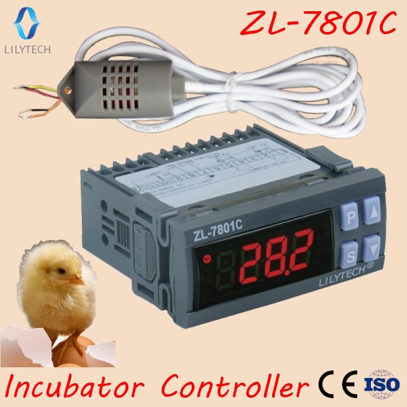 ZL-7801C, 100-240VAC, контроллер температуры и влажности для инкубатора, автоматический многофункциональный инкубатор контроллер, Lilytech