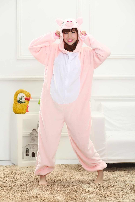 ... Симпатичные Единорог взрослых фланелевые пижамы животных панда стежка  женские топы сна Пижама Косплей Комбинезоны пижамы мультяшный bbfd551e322f1