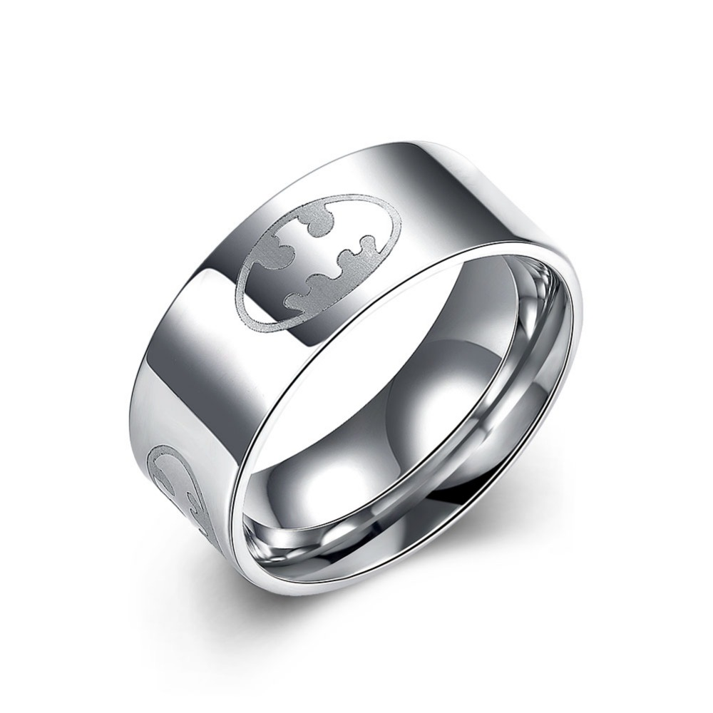 Free Shipping Usa Uk Canada Russia Brazil Hot Sales 8mm Satin Steel Beveled  Batman Ring New Men's Fashion Tungsten Wedding Ring