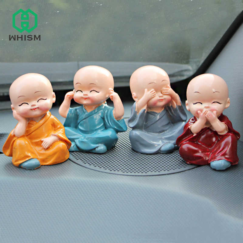 WHISM 4PCS Auto Ornaments Micro Landscape Figurine Dolls Resin Small Buddha Statue Monk Mini Fairy Garden Terrarium Miniatures