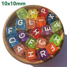 رسالة الخرز شفافة خرز زاهي الألوان 10 مللي متر 550 قطعة الاكريليك الخرز مربع الخرز مزيج A Z الخرز الأبجدية لصنع المجوهرات