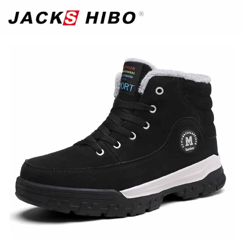JACKSHIBO Winter Mens Shoes Warm Footwear Thick Soled Shoes Casual for Men High Top Sneakers Male Shoes Adult Snow Boot Shoe