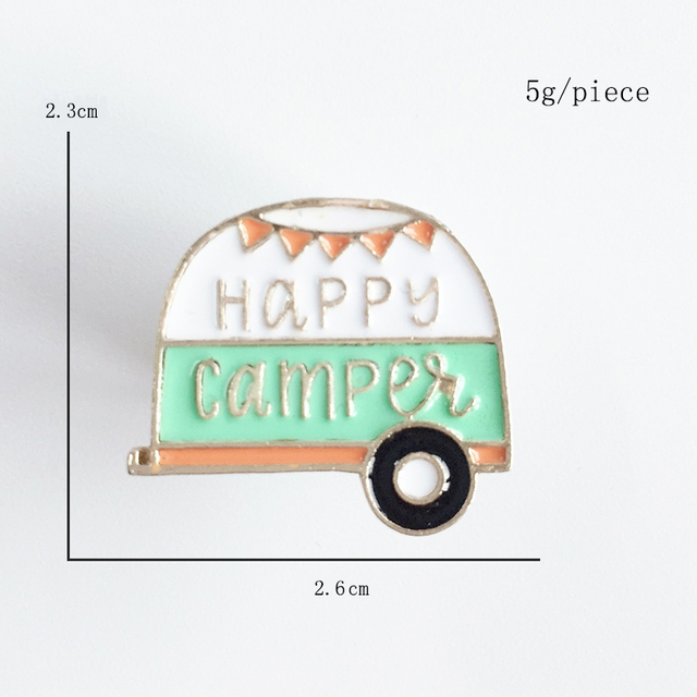 Cartoon Cute Brooch happy camper Green Mini Truck Enamel Pin Parent-child and Lovers Gifts Jewelry Wholesale Bag Coat Accessorie