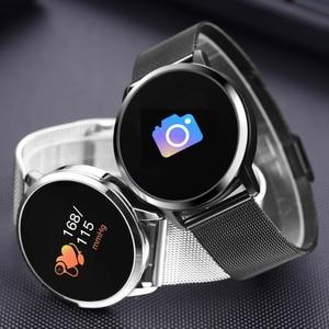 Image 4 - Nouveau Q8 OLED Bluetooth montre intelligente en acier inoxydable étanche appareil portable Smartwatch montre bracelet hommes femmes Fitness Tracker