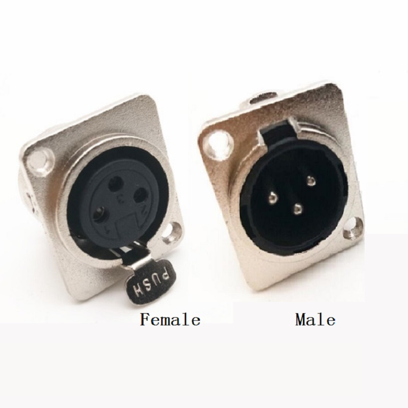 XLR Connector 3PIN Male Female Socket Panel Chassis Metal Square Microphone Jack Wire Connector XLR Jack