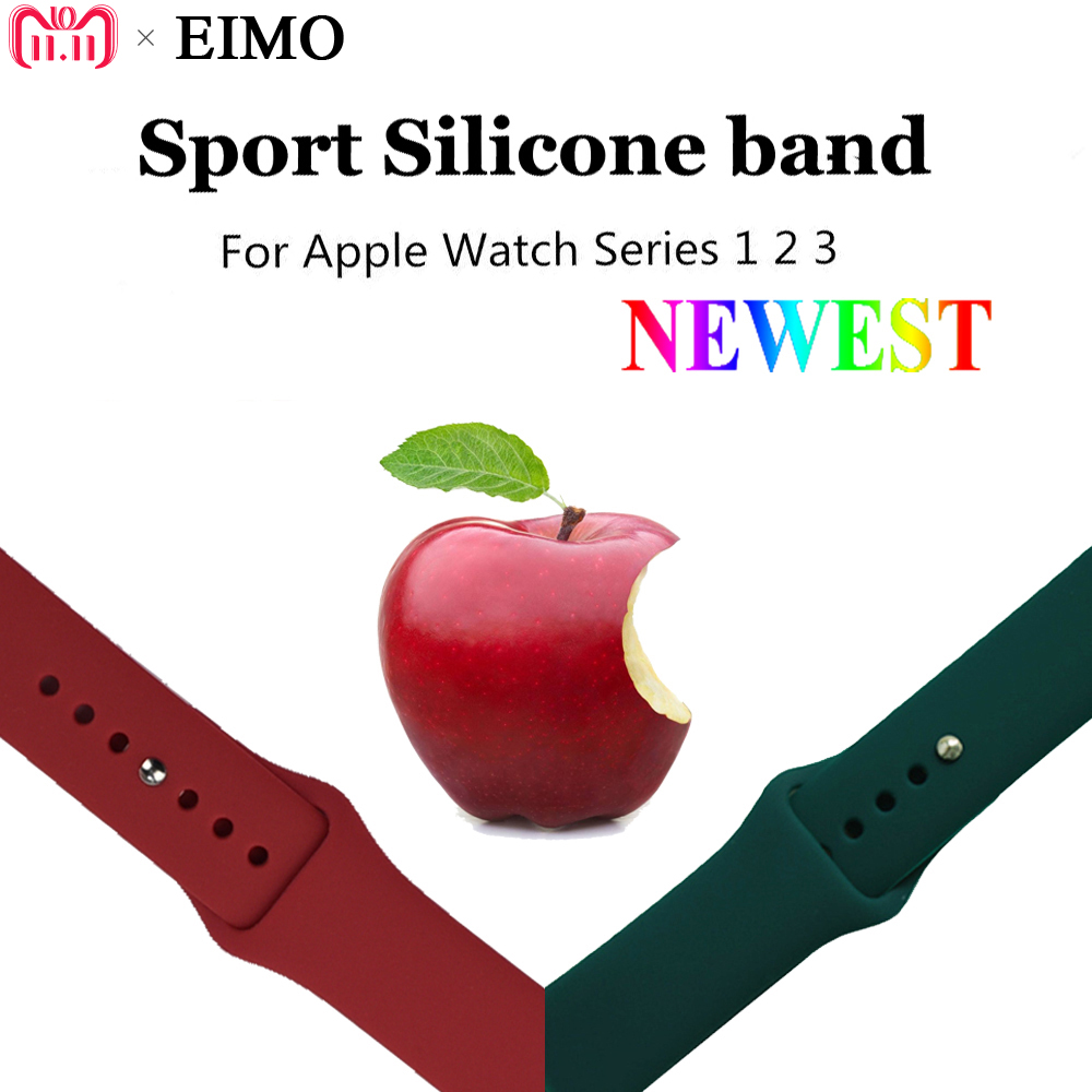 EIMO Silicone Sport Loop Correa Strap for Apple Watch Band 42mm 38mm Iwatch Series 4 3 2 1 Rubber Bracelet Wrist Belt Watchband eimo silicone watch case strap for apple watch band 42mm 38mm bracelet wrist belt full screen protector case for iwatch 3 2 1