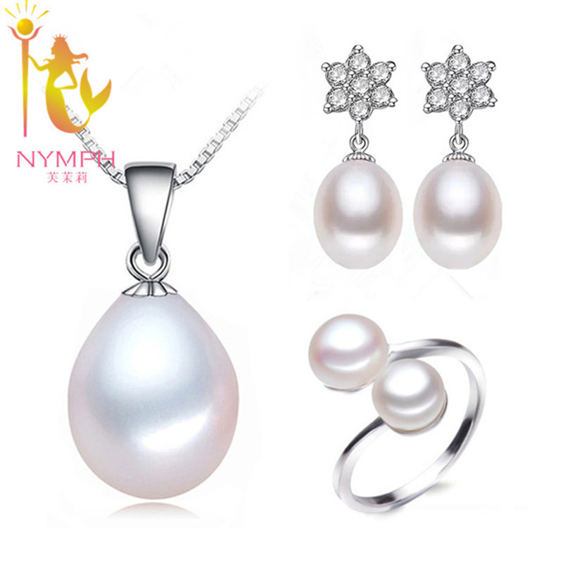 NYMPH brand Natural pearl wedding jewelry sets 6.5-7.5mm drop shape 925 silver necklace /earrings  T118 Ювелирное изделие