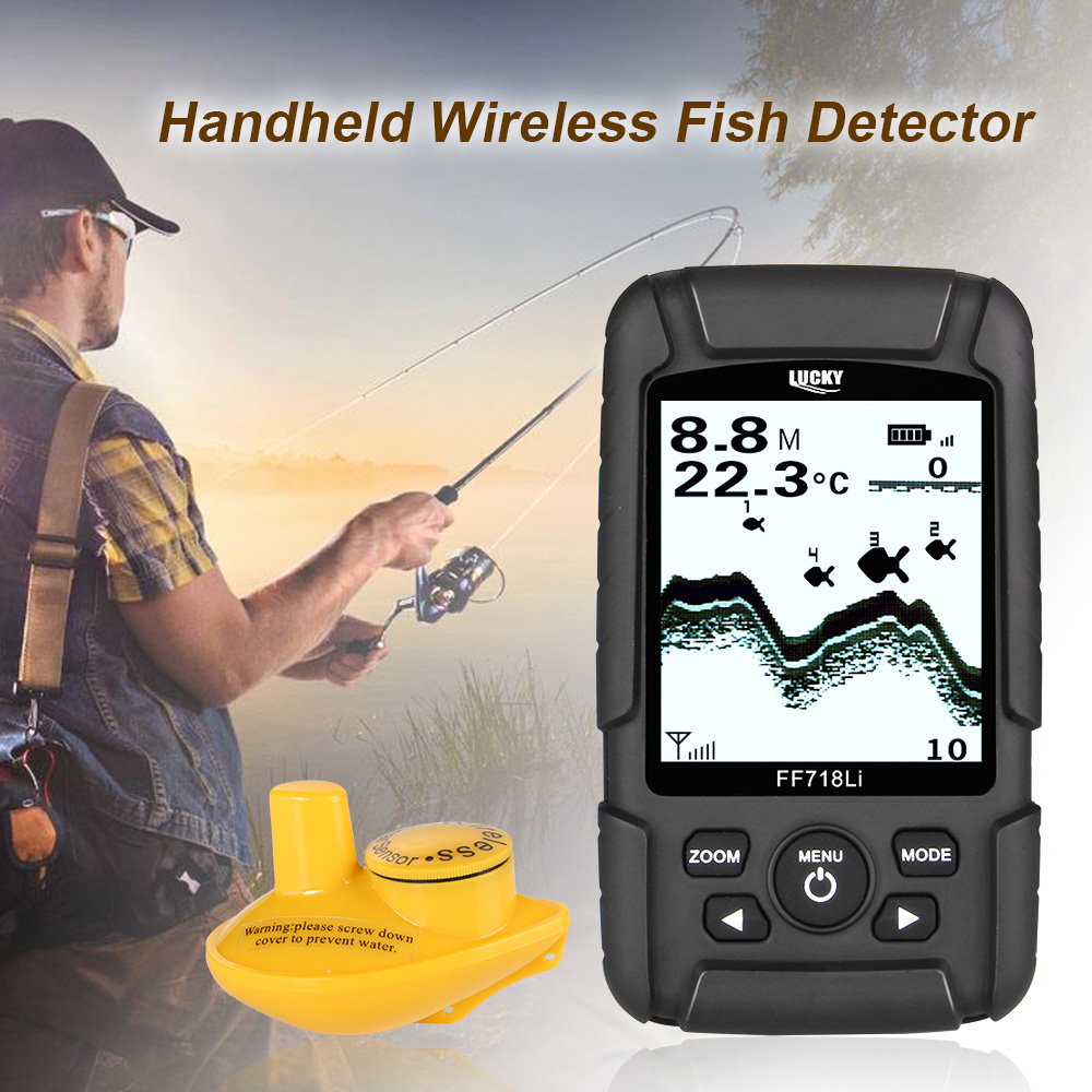 LUCKY Fish Finder Monitor Fish Detector 180m LCD LED Back Lighting Echo Sounder De Pesca Wireless