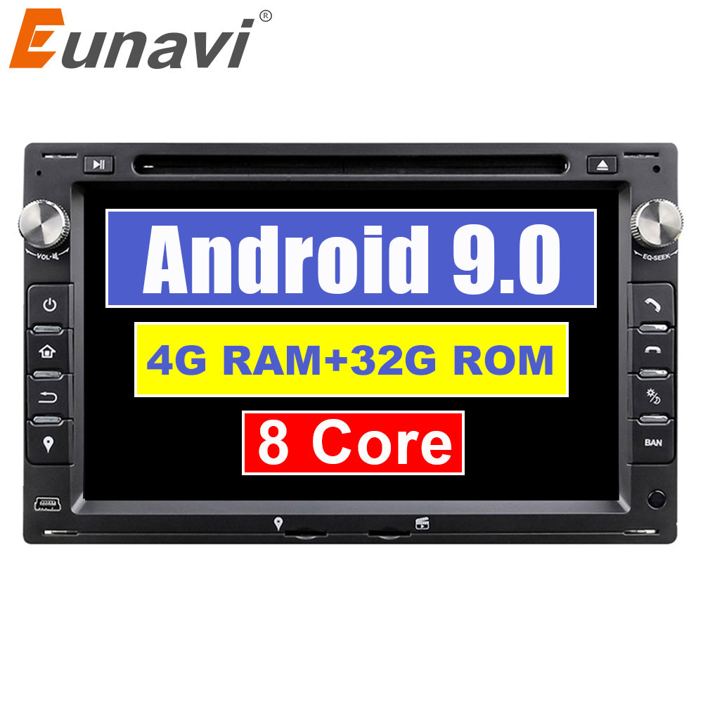 Eunavi Octa Núcleo 32 4 GB RAM GB Flash Android 9.0 7 polegada DVD Player Do Carro GPS Para VW Glof mk4 Mk5 Golf Polo Jetta Bora Passat Assento