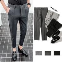 Men Slim fit Business Casual Suit Pants Male Fashion Ankle Length Pants Solid Color Pencil Trousers