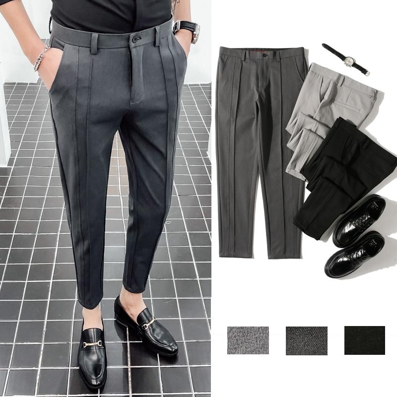 Men Slim Fit Business Casual Suit Pants Male Fashion Ankle-Length Pants Solid Color Pencil Trousers