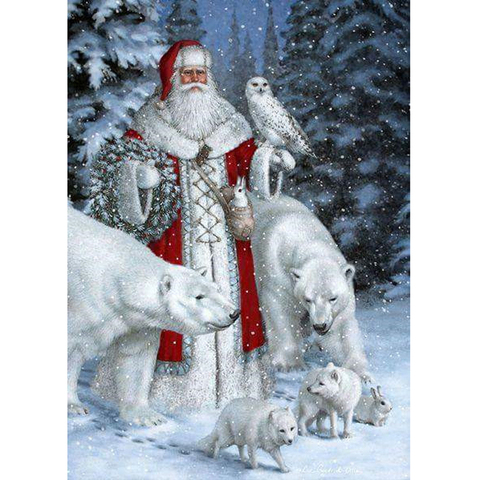 100% Full 5D Diy Daimond Painting Cross-stitch Christmas 3D Diamond Painting Old Man And Wolves Rhinestones Paintings Embroidery Lahore