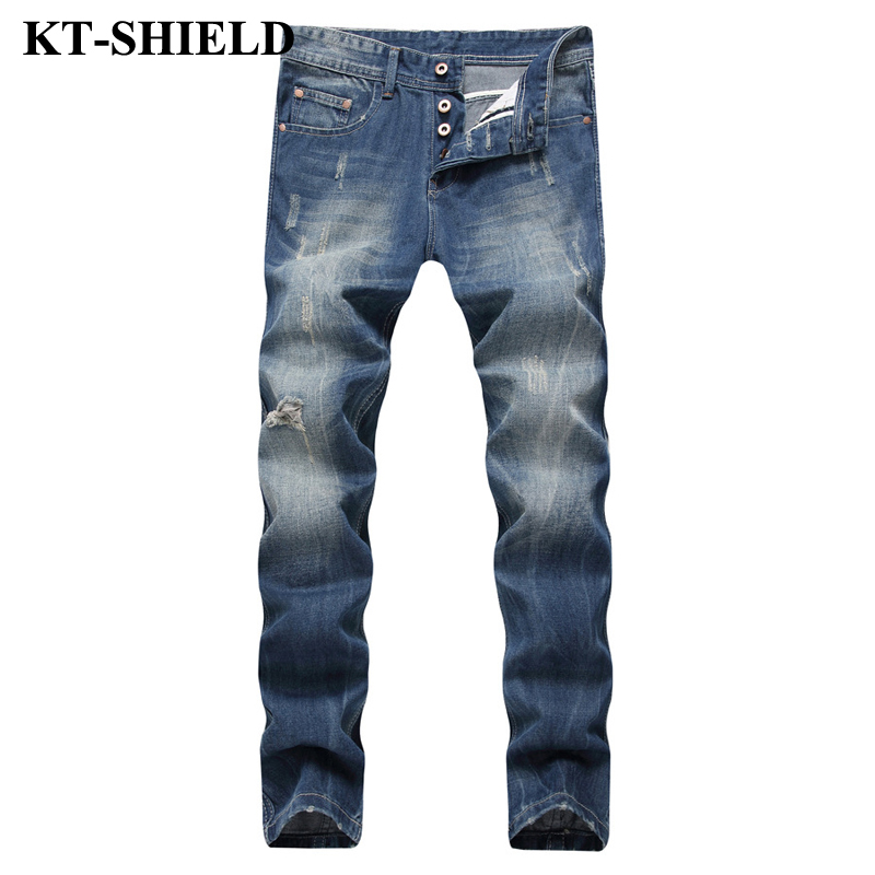 New Jeans Men Fashion Brand Straight Slim fit Denim Pants For Men Biker Ripped Jeans Masculina Male Long Trousers Cotton 42 44 new brand 2017 mens skinny jeans mid waist male trousers patchwork cotton men s denim slim pants fashion ripped jeans for men