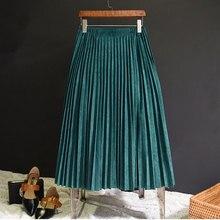 2018 New Fashion Summe Women Suede Skirt Pink White Long Pleated Skirts Womens Saias Midi Faldas Vintage