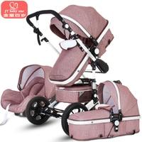 Cochecito de bebé 3 en 1 con asiento de coche para Recién Nacido Alta Vista Pram plegable bebé carro SISTEMA de VIAJE carrinho de bebe 3 em 1