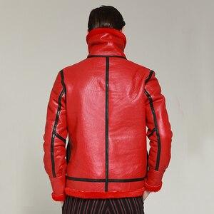 Image 5 - Neue winter echtem leder kleidung männlichen echte schafe leder herren kleidung oberbekleidung red herren winter warme mantel