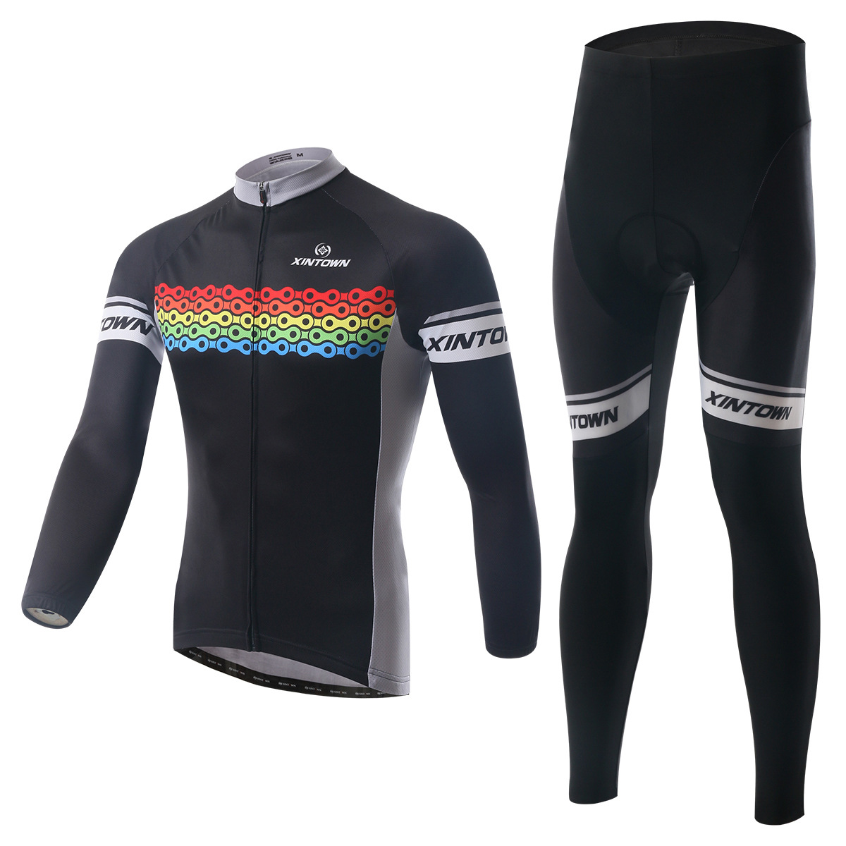 XINTOWN new chain color bike riding jersey long-sleeved suit wear cycling suits summer sweat-absorbent quick-drying shirt