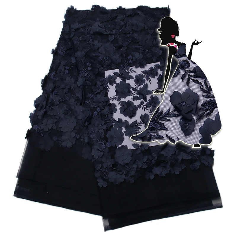 Flor africano laço de tecido com 3D 2019 mais recente azul Royal tule tecido de renda Alta Qualidade 3D lace tecido para vestido de Noiva KS1342B