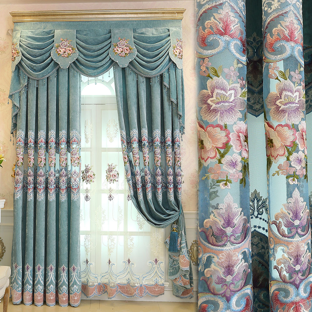 Curtains for Living Room Valance Bedroom European Luxury villa Half shaded window cashmere chenille blue curtains EmbroideryCurtains for Living Room Valance Bedroom European Luxury villa Half shaded window cashmere chenille blue curtains Embroidery