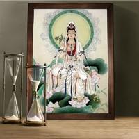 Needlework,DIY DMC Cross stitch,Sets Full Embroidery kits,Buddhism Goddess Guanyin Printed Cross Stitch,Paint Wall Decoration