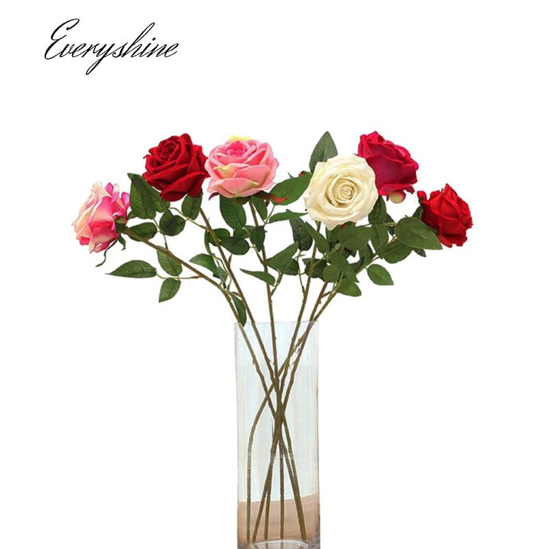 Искусственные цветы Свадебные розы Букет DIY партия Декоративные поддельные цветы шелковой ткани Craft для украшения дома 1 шт. JK390