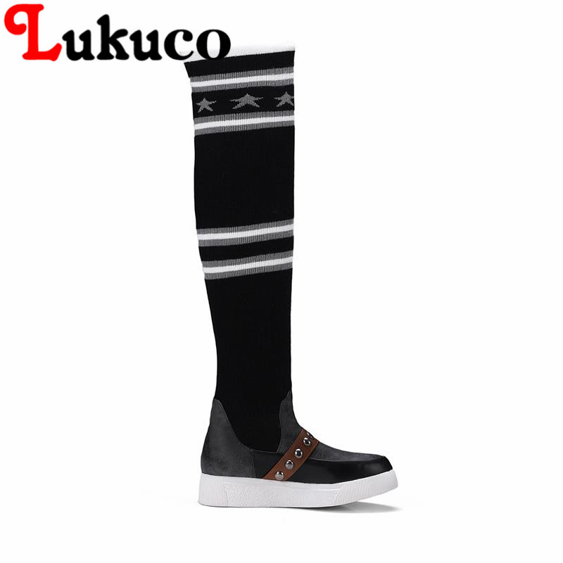 Lukuco warm women wedges heel over-the-knee boots PU made mixed colors design shoes with short plush inside
