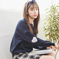 Harajuku Sweatshirts Women 2016 Korea Soft Sister Lovely Heart-shaped Embroidered Long Sleeve Hoody Sweet Woman Casual Pullovers
