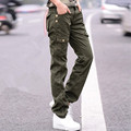 Women Military Cotton Cargo Pants Ladies Casual Loose Straight Trousers Army Green Plus Size Camouflage Pants Female