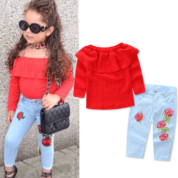 Baby Kids Girl Ruffled Red Blouse Rose Denim Jeans Outfit Sets Little Girls Shirt Tops+Long Pants Clothes blusa sexi animal print