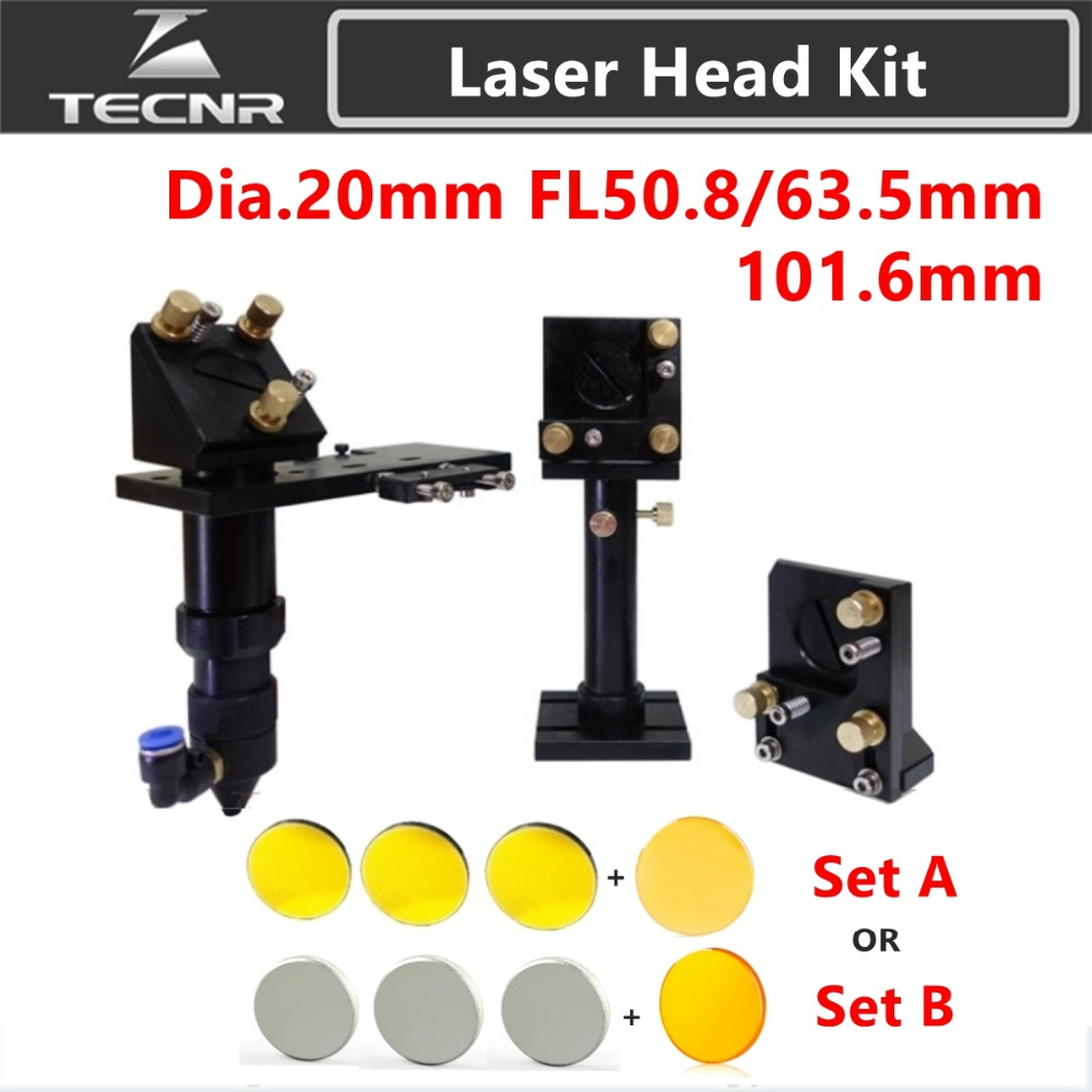 TECNR CO2 Laser Head Head CO2 + Reflective Si Mirror 25mm + USA Focus Lens 20mm for Laser Gravírování Cutting Machine