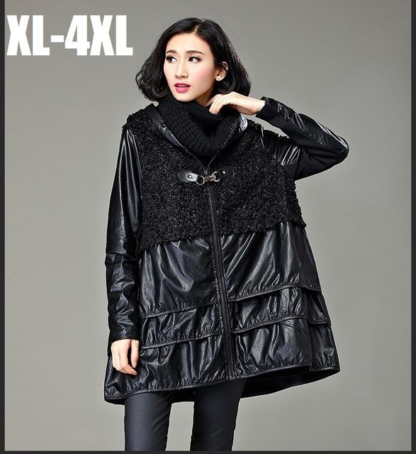 2016Autumn winter female A-line trench coat fashion women PU patchwork outwear plus size hooded casual blouse flare topXXXXL3258